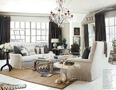 Gray living room from Country French Magazine. I Love everything about this room except the animal print rugs.