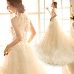 Affordable White Halter Formal Spring Fall Wedding Bridal Dress Gown SKU-119075