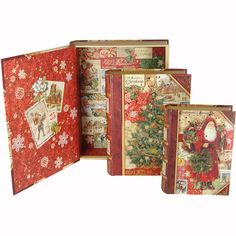 Punch Studio Victorian Christmas Set of 3 Nested Book Boxes