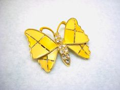 CUTE Yellow Plaid Butterfly pin just listed on Etsy