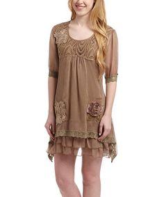 Another great find on #zulily! Brown Silk-Blend Scoop Neck Shift Dress by Pretty Angel #zulilyfinds