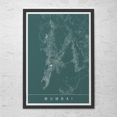 MUMBAI MAP POSTER - Modern City Print Art - Customizable Mumbai India City Map Home Decor Modern City Art Print Giclee Ribba