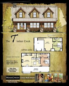 MossCreek, Designers of Luxury Timber Frame, Hybrid and Log Homes. Custom & stock home plans available. Barn House Plans, Cabin Plans, Small House Plans, Bungalow Floor Plans, House Floor Plans, Cabin Homes, Log Homes, Cabins And Cottages, Log Cabins