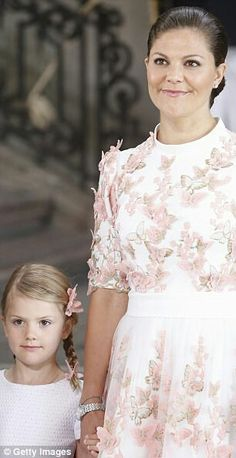 Princess Estelle of Sweden with her mother CP Victoria of Sweden. July 14 2017