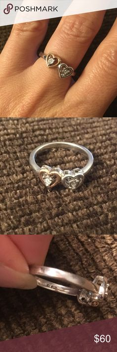 Diamond Double Heart Ring 925&10k size 7 Genuine diamonds in the center of each heart!  Solid Sterling silver with one Heart being 10k yellow gold.  Size 7. Open to offers:) Jewelry Rings