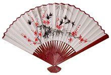 Amazon.com - Oriental Furniture Unique Asian Art, Decor Gifts, 42-Inch Japanese White Painted Wall Fan, Red Flowers and Birds No.1 - Prints