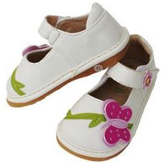 White Butterfly Squeak Me Shoes (I have a pair in brown & ladybugs in Black for my girls, I love them!!)