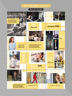 Puzzle de redes sociales post templates - Freepik Layout Do Instagram, Instagram Post Template, Instagram Design, Instagram Story, Social Media Banner, Social Media Design, Social Media Template, Feeds Instagram, Instagram Grid