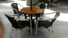 Diningset outdoor  Rattan synthetic single chair Round table teakwood top Umbrela / parasol waterproof Caffe Bene  Jakarta-Indonesia
