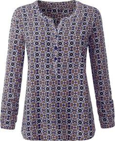 Ambria Bluse im Minimal-Dessin ab 27,99€. Kombistarke Bluse mit kurzer Knopfleiste, Polyester, Hinten mit Sattel und Falte für einen schönen Fall bei OTTO