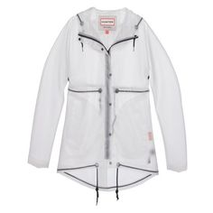 HUNTER Original Clear Smock Desert White Transparent rain coat ❤ liked on Polyvore featuring outerwear, coats, transparent rain coats, rain coat, sheer coat, clear rain coats and zip coat