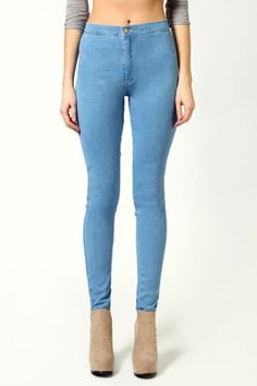 Abbie High Rise Super Skinny Disco Jeans at boohoo.com