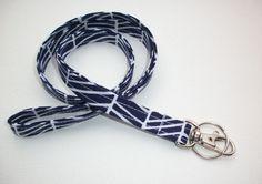 Lanyard ID Badge Holder - navy blue herringbone - Lobster clasp and key ring