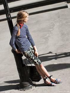 Marc Jacobs Bermuda shorts, Armor Lux striped shirt, Fendi sandals, Rachel Comey bag / Garance Doré