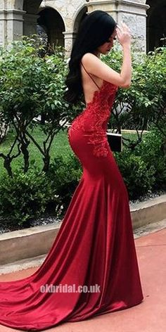 Sexy Mermaid Backless Straps Applique Red Prom Dress d31140928744