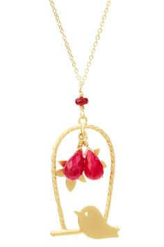 Ruby Birdcage Pendant Necklace