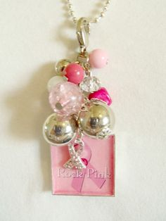 Rock Pink Breast Cancer Awareness Cluster Charm and by The Jewelry Jar, 12.00