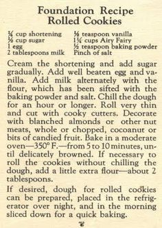 Things Your Grandmother Knew: Vintage Recipe Thursday: Foundation Recipe Rolled Cookies