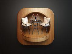 Restaurant icon- looks like an actual photo App Icon Design, Game Design, Ui Design, Design Set, Mobile App Icon, Restaurant Icon, 3d Icons, Application Icon, Ios Icon