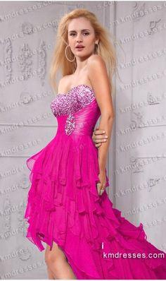 flowy strapless rhinestone encrusted hi lo dresses Purple Dresses Pink Dresses - IkmDresses.com