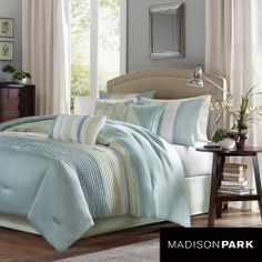 Madison Park 'Chester' Green/Blue 7-piece Comforter Set | Overstock.com Shopping - Great Deals on Madison Park Comforter Sets
