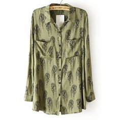 Green Lapel Long Sleeve Tiger Print Blouse ($29) ❤ liked on Polyvore