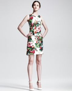 Sleeveless Floral-Print Shift Dress by Dolce & Gabbana1625.00 This reminds me of upholstery fabric, but I like it.