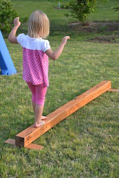 DIY Balance Beam for Preschool- using part of a loft bed. We might have some bunk bed pieces of our own.