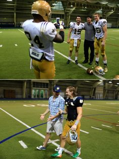 Duncan Keith and Patrick Sharp meet with some Notre Dame football players.
