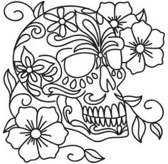 Urban Threads: Unique and Awesome Embroidery Designs Skull Coloring Pages, Pattern Coloring Pages, Coloring Book Pages, Embroidery Art, Embroidery Patterns, Machine Embroidery, Flower Embroidery, Sugar Skull Art, Sugar Skulls