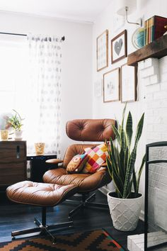 "This corner :: Mid century + modern + rustic - I ""need"" that chair."