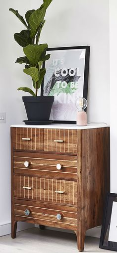 Sleek and commanding in dark wood and marble, our brass-inlaid Ottone Marble & Acacia Wood Chest of Drawers is an heirloom piece that's as eye-catching as it is functional. Bedroom Inspo, Bedroom Ideas, Bedroom Decor, Wall Decor, Chest Of Drawers Decor, Small Drawers, Dark Wood Bedroom Furniture, Hello London, Decorating Ideas
