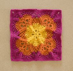 Beautiful cabled crochet motif. Inspiration only.