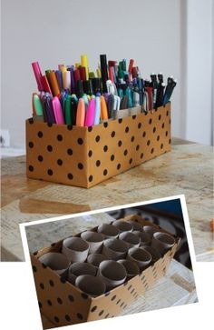 Clever: turn empty toilet paper rolls and a shoe box into a storage caddy! Perfect for kids art supplies… Clever: turn empty toilet paper rolls and a shoe box into… Organisation Hacks, Classroom Organization, Organizing Ideas, Craft Organization, Desktop Organization, Stationary Organization, Organizing Art Supplies, Classroom Desk Tidy, Back To School Diy Organization