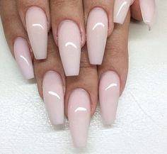 Pale pink coffin nails, ballerina nails