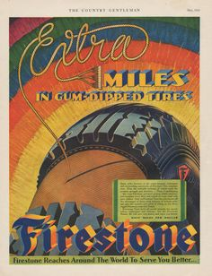 Vintage 1929 colorful Firestone gum dipped Tire print ad extra miles around the world