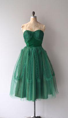 Verdant Shade dress vintage 50s dress green tulle by DearGolden