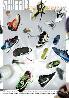 Pôster/catálogo criado para divulgação de uma nova coleção de tênis da Shuffle Store, loja com espírito casual e alternativo. Trasformando o catálogo convencional em um pôster, o brand sense pode se tornar mais forte já que quem o adiquire pode pendurar n…