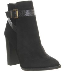 Office Iris Suede Strap Boots ($135) ❤ liked on Polyvore featuring shoes, boots, ankle booties, ankle boots, black suede, women, black buckle booties, short black boots, high heel booties and black booties