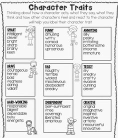 Acknowledge differences in the points of view of characters, including by speaking in a different voice for each character when reading dialogue aloud. Character Traits Word Bank, Frames and Thinking Maps Reading Strategies, Reading Skills, Reading Comprehension, Writing Skills, Guided Reading, Guided Math, Writing Lessons, Essay Writing, Math Lessons