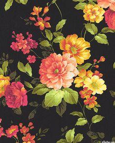 Estate Gardens - Pictorial Florals - Black