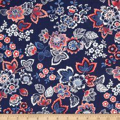 Amazon.com: French Navy Jacobean Navy Fabric