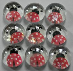 Set of  9 Lady Bug Magnets or Pushpins on Etsy, $3.00: for Nancy (Christmas)