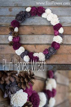 Eco Flower creates flower arrangements that won't die or wilt because they are made from recycled materials! This wreath is made from sola wood, and pine cones. Perfect for your table, or wall!