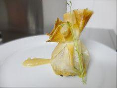 cocinaros: Saquitos de solomillo y foie con crema de pera y manzana