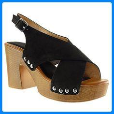 Angkorly Damen Schuhe Sandalen Mule - Plateauschuhe - Offen - String Tanga - Nieten - Besetzt - Schleife Blockabsatz High Heel 9.5 cm - Blau YL288-2 T 37 ci1hBEI99