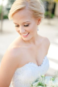 Natural wedding makeup idea - sparkly eyeshadow with pink lip for bride {Jessica Lauren Photography}