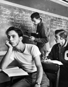 A bored teenage boy in class. Photograph by Alfred Eisenstaedt. Oklahoma City, Oklahoma, USA, December 1948.