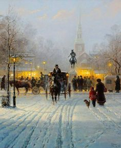 Gerald Harvey Jones, better known as G. Harvey, was born in San Antonio, Texas in Great Paintings, Beautiful Paintings, G Harvey, Kinkade Paintings, Victorian Paintings, Cityscape Art, Russian Painting, Winter Scenery, Landscape Pictures