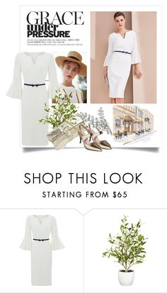 """""""White Pencil Dress Black Belt"""" by danewhite ❤ liked on Polyvore featuring Gaia, Nearly Natural and Jennifer Behr"""